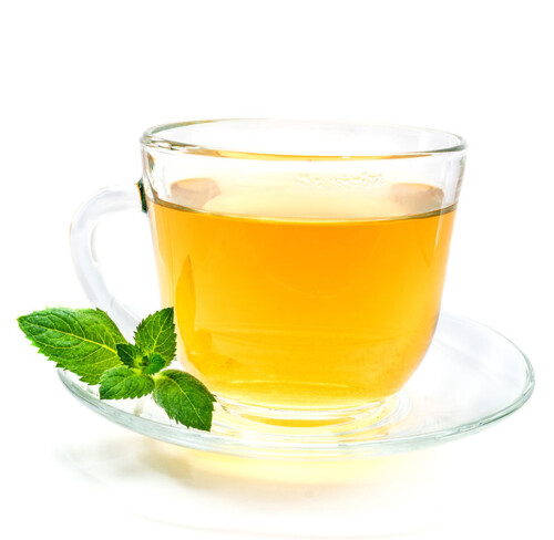 cup of tea with a mint leaf